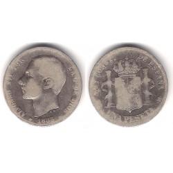 Alfonso XII. 1883*(-----). 1 Peseta (BC-) (Plata) Ceca de Madrid MS-M