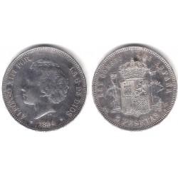 Alfonso XIII. 1894*(18-94). 5 Pesetas (EBC) (Plata) Ceca de Madrid PG-V