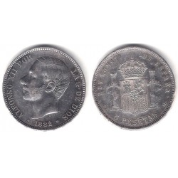 Alfonso XII. 1882*(18-82). 5 Pesetas (EBC-) (Plata) Ceca de Madrid MS-M