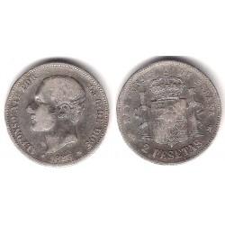 Alfonso XII. 1883*(-----). 2 Pesetas (BC+) (Plata) Ceca de Madrid MS-M