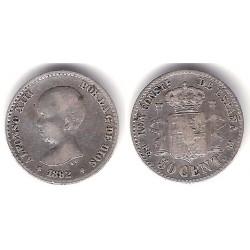 Alfonso XIII. 1892*(18-92). 50 Céntimos (MBC) (Plata) Ceca de Madrid DE-M