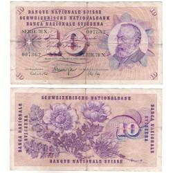 (45r) Suiza. 1972. 10 Francs (RC+) Pequeño agujero en el centro