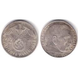 (93) Alemania (III Reich). 1938(J). 2 Mark (MBC) (Plata)