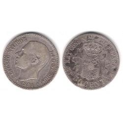 Alfonso XII. 1880*(8-0). 50 Céntimos (BC) (Plata) Ceca de Madrid MS-M