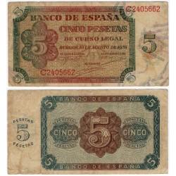 Estado Español. 1938. 5 Pesetas (BC+) Serie C