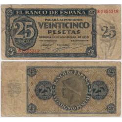 Estado Español. 1936. 25 Pesetas (BC-) Serie S. Leves Roturas en Márgenes