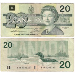 (97a) Canadá. 1991. 20 Dollars (BC) Leves Roturas Margen Inferior