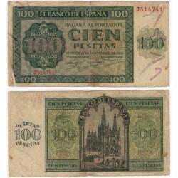 Estado Español. 1936. 100 Pesetas (BC) Serie J. Leves roturas en márgenes