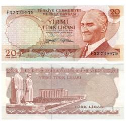 (187a) Turquía. 1970. 20 Lira (SC)