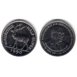 (54) Mauricio. 1990. Half Rupee (SC)