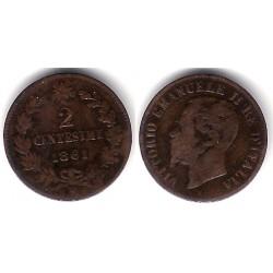 (2.1) Italia. 1861M. 2 Centesimi (MBC+)
