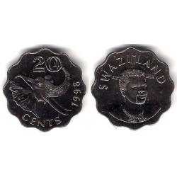(50.2) Suazilandia. 1998. 20 Cents (SC)