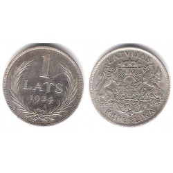 (7) Letonia. 1924. 1 Lats (EBC) (Plata)