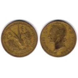 (7) Africa Occidental Francesa. 1956. 25 Francs (BC+)