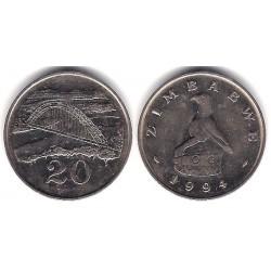 (4) Zimbabue. 1994. 20 Cents (MBC)