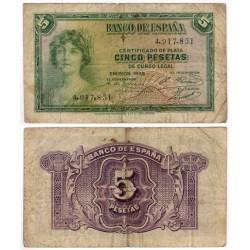 España. 1935. 5 Pesetas (BC-) Sin Serie