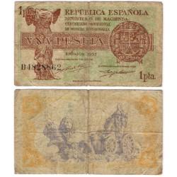 España (II República). 1937. 1 Peseta (MBC) Serie A