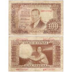 Estado Español. 1953. 100 Pesetas (RC+) Serie 2D. Roturas en márgenes