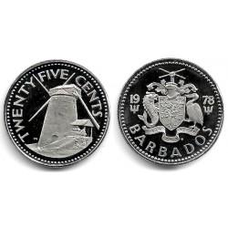 (22) Barbados. 1978. 25 Cents (SC)
