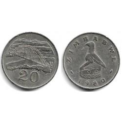 (4) Zimbabue. 1980. 20 Cents (BC+)