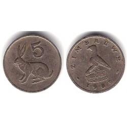 (2) Zimbabue. 1989. 5 Cents (BC)
