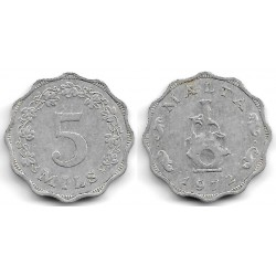 (7) Malta. 1972. 5 Mils (MBC)