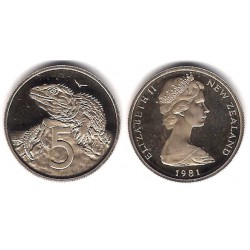 (34.1) Nueva Zelanda. 1981. 5 Cents (Proof)