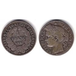 (822.1) Francia. 1887(A). 1 Franc (MBC-) (Plata)