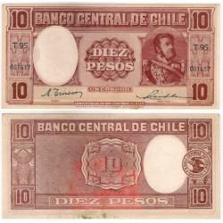 (111) Chile. 1947-58. 10 Escudos (EBC) Mancha