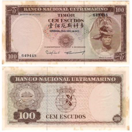 (28) Timor Oriental. 1963. 100 Escudos (EBC+) Manchas