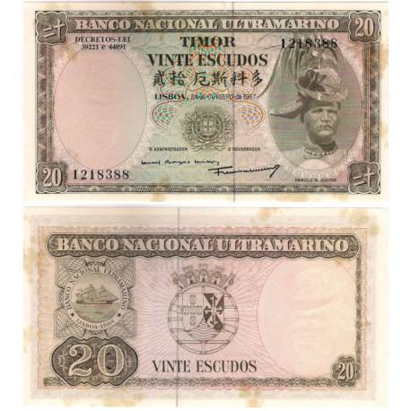 (26) Timor Oriental. 1967. 20 Escudos (EBC+) Manchas