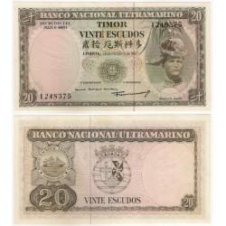 (26) Timor Oriental. 1967. 20 Escudos (SC-) Manchas Leves