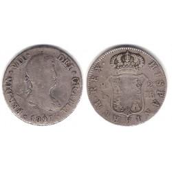 Fernando VII. 1827. 2 Reales (BC) (Plata) Ceca de Sevilla JB