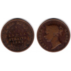 (6) Straits Settlements. 1862. 1 Cent (BC+)