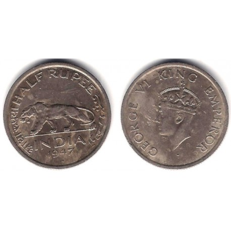 (548) India Británica. 1947. Half Rupee (MBC)