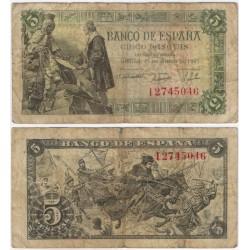 Estado Español. 1945. 5 Pesetas (BC-) Serie I