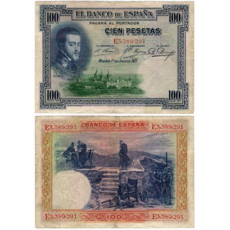 España. 1925. 100 Pesetas (BC) Serie E. Leve rotura doblez central
