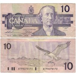 (96a) Canadá. 1989. 10 Dollars (BC) Mancha