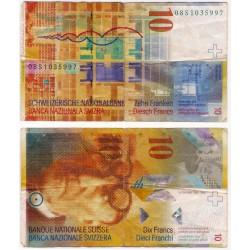 (67c) Suiza. 2008. 10 Francs (BC) Roturas