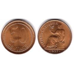 España (II República). 1937*(--6). 50 Céntimos (SC) Variante. Orla Puntos a Cuadros