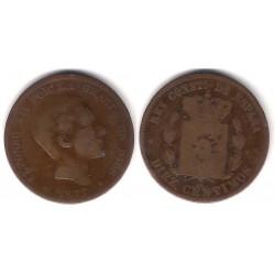 Alfonso XII. 1877. 10 Céntimos (BC) Ceca de Barcelona OM