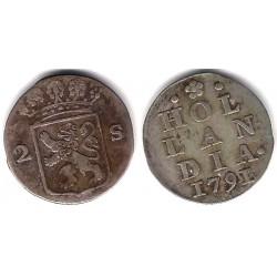 (48a) Países Bajos. 1791. 2 Stuivers (MBC-) (Plata)
