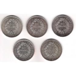 INVERSIÓN PLATA. Lote de 5 Monedas de 50 Francos (1875,76,77,78,79)