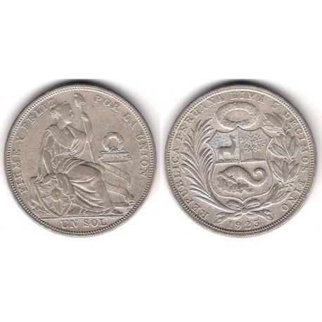 (218.1) Perú. 1923. 1 Sol (MBC+) (Plata)