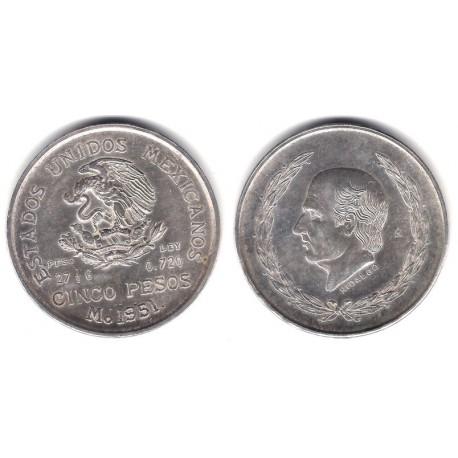 (467) Estados Unidos Mexicanos. 1951. 5 Pesos (EBC+/SC-) (Plata)