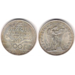 (970) Francia. 1989. 100 Francs (SC) (Plata)