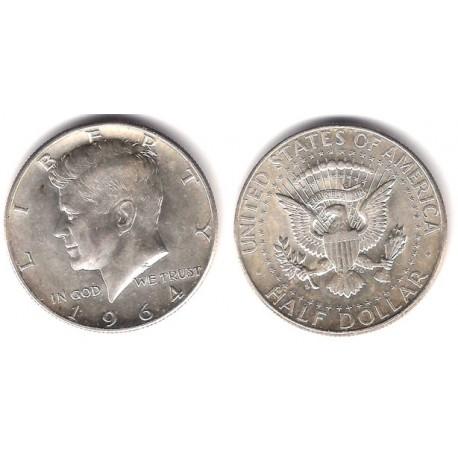 (202) Estados Unidos de América. 1964(D). Half Dollar (EBC+) (Plata)