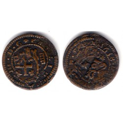 Felipe III. 1618. 4 Maravedi (BC) Ceca de Segocia. Resellos de Felipe IV