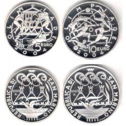 San Marino. 2003. 5 Euro + 10 Euro (Proof) (Plata) OIimpiada 2004