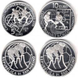 San Marino. 2004. 5 Euro + 10 Euro (Proof) (Plata) Campionato Mondiale di Calcio Germania 2006